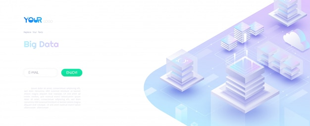 Big data, data analysis technology and data visualization concept. perfect gradient of pink-blue color 3d isometric box data connected together. vector illustration