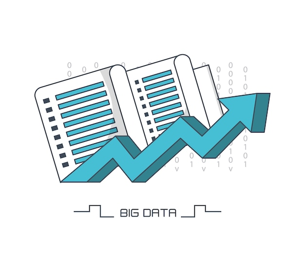 Big data design with data server and arrow icon