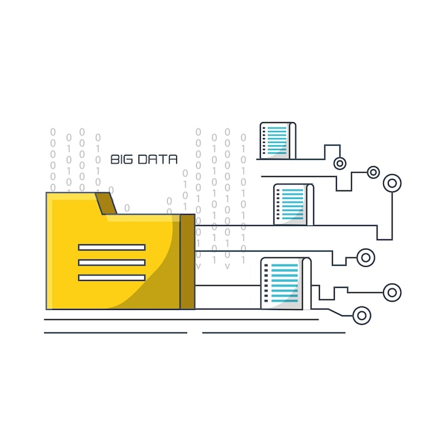 Big data design with folder and data servers icon
