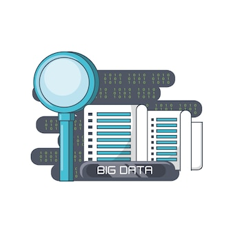 Big data design with magnifying glass and data servers
