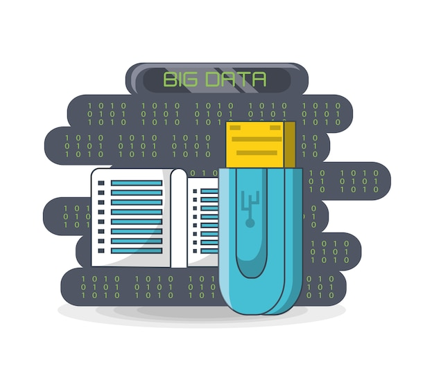 Big data design with usb and data center icon