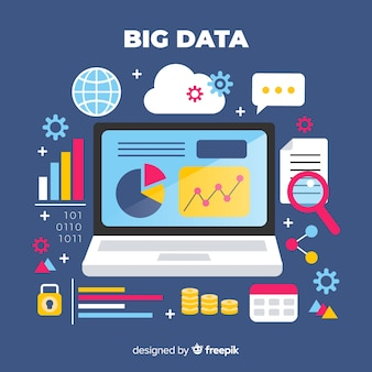 Big data flat background