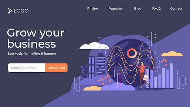 Big data flat tiny persons vector illustration landing page template design