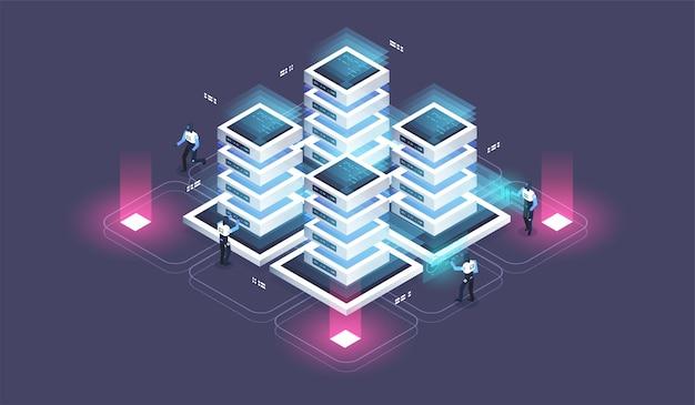ビッグデータフロー処理の概念、クラウドデータベース。サーバールームラック、データセンターのアイソメ図。