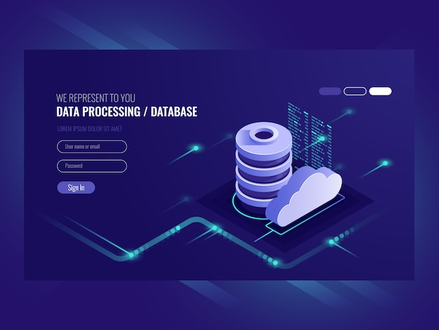 Grande concetto di elaborazione del flusso di dati, database cloud, web hosting e icona della stanza del server