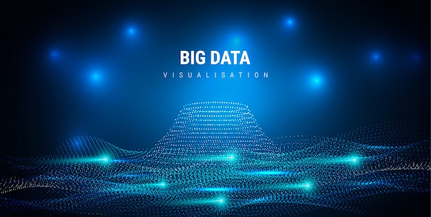 Big data. futuristic info graphics aesthetic design. visual information complexity. intricate data threads plot. business analytics representation. wave points fractal grid. sound visualization.