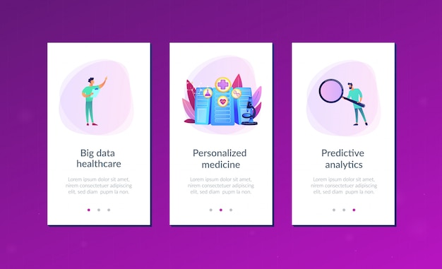 Big data healthcare app interface template.