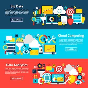 ビッグデータの水平バナー。ウェブサイトのヘッダーのベクトル図。ビジネスアイテムフラットデザイン。