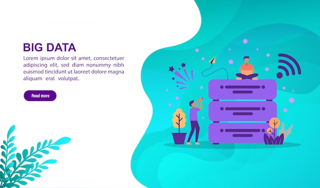 Big data illustration concept with character
