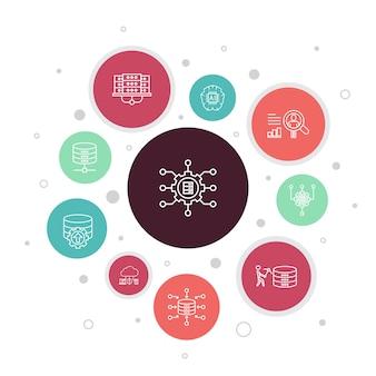 Инфографика для больших данных: 10 шагов по созданию пузыря. база данных, искусственный интеллект, поведение пользователей, простые значки центра обработки данных