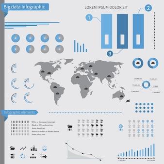 흰색 배경에 큰 데이터 infographic 요소