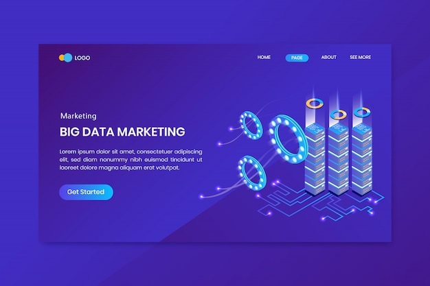 Big data isometric concept landing page