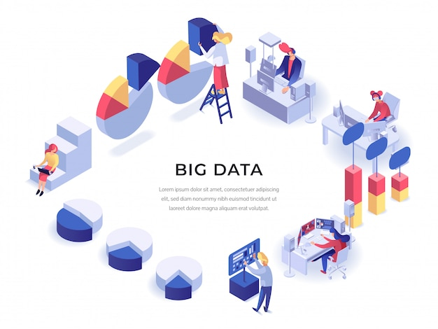 Big data isometric poster