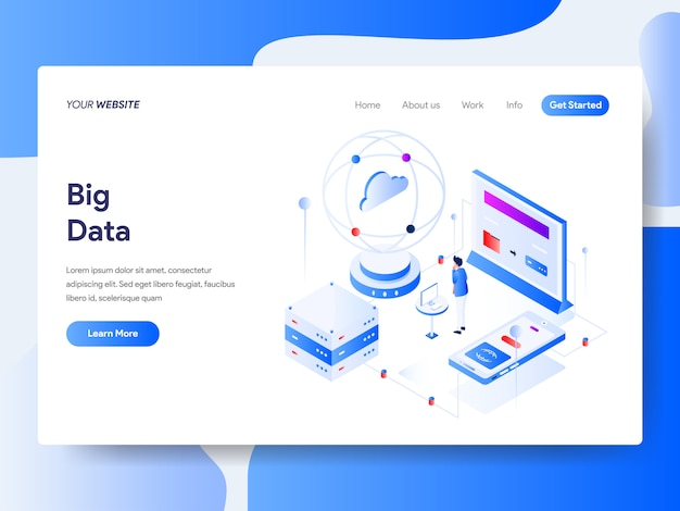 Big data isometric for website page