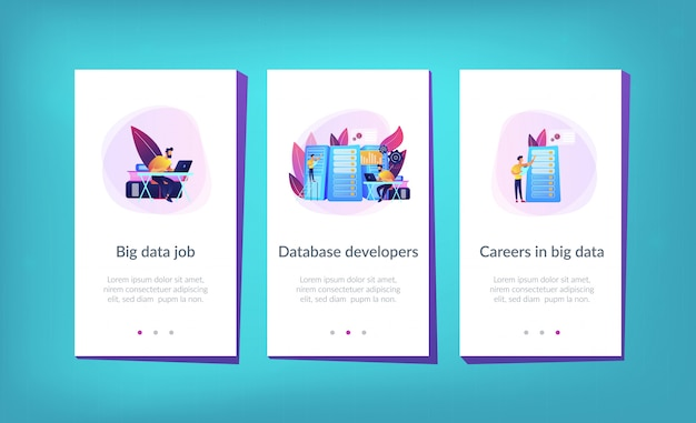 Big data job app interface template.