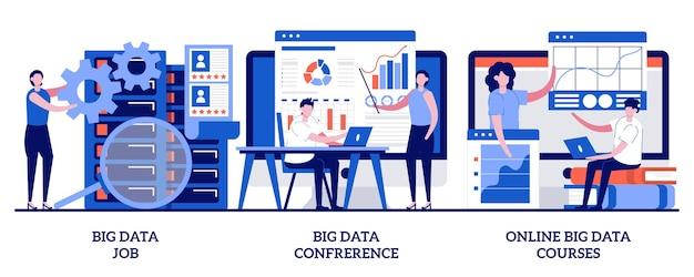 ビッグデータの仕事、ビッグデータ会議、小さな人々とのオンラインビッグデータコースのコンセプト。バックアップサーバー技術者セット。情報管理専門家会議。
