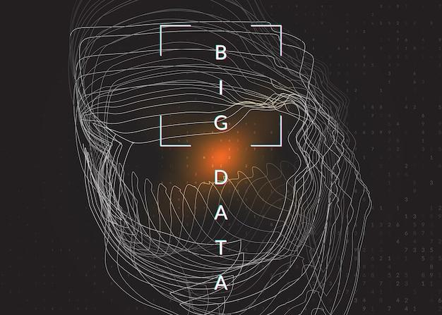 빅 데이터 학습. 디지털 기술 추상적인 배경입니다. 인공 지능 개념입니다. 산업 템플릿에 대한 기술 시각적 개체입니다. 물결 모양의 빅 데이터 학습 배경.
