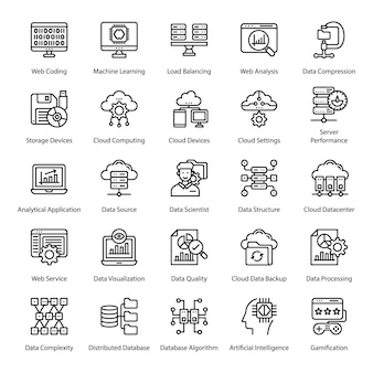 Big data line icons pack