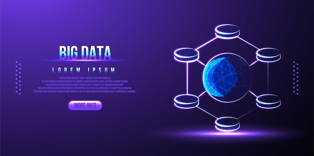 Big data low poly wireframe