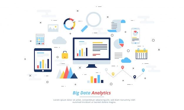 빅 데이터, 머신 로그, 분석 개념 안전 및 보안 개념. 핀 기술 (금융 기술) 배경. 다채로운 평면 그림 스타일.