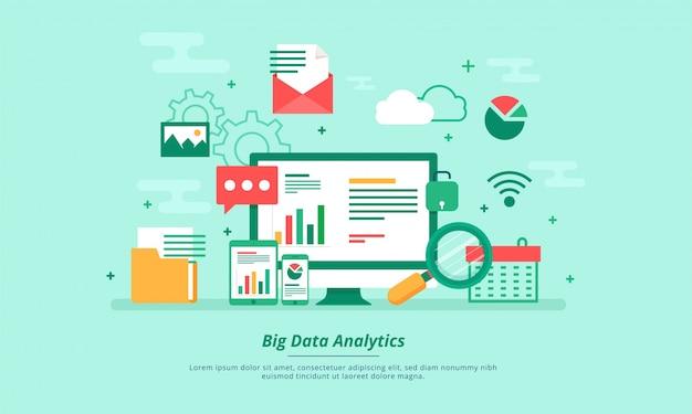 ビッグデータ、マシンアロゴリズム、分析概念セキュリティとセキュリティコンセプト。フィンテック(金融技術)の背景。フラットイラストスタイル。