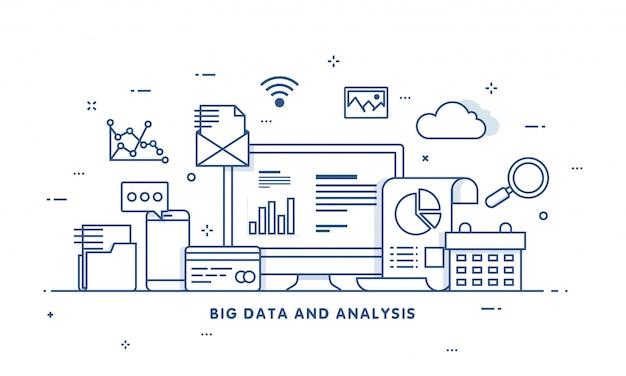빅 데이터, 머신 로그, 분석 개념 안전 및 보안 개념. 핀 기술 (금융 기술) 배경. 평면 그림 스타일.