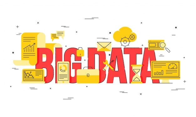 ビッグデータ、マシンアロゴリズム、分析概念セキュリティとセキュリティコンセプト。フィンテック(金融技術)の背景。黄金と赤のイラスト。