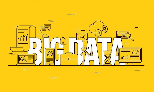 ビッグデータ、マシンアロゴリズム、分析概念セキュリティとセキュリティコンセプト。フィンテック(金融技術)の背景。ラインアートイラスト、黄色の背景。