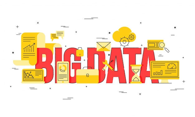 Big data, machine alogorithms, analytics concept saftey and security concept. fin-tech (financial technology) background. golden and red illustration.