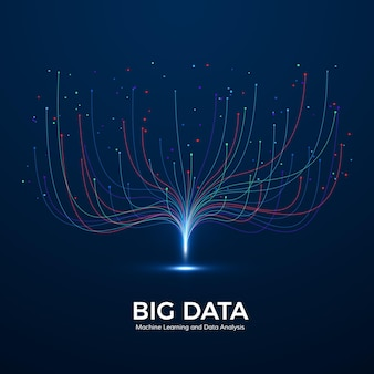 Big data machine learning and data analysis. digital technology visualization. dot and connection lines. data flow analyze and processing information.