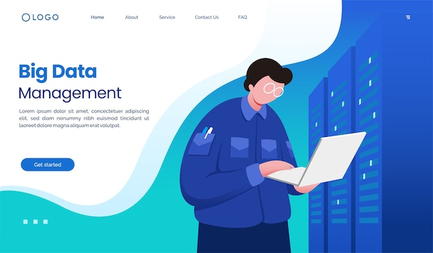 Big data management landing page website illustration  template