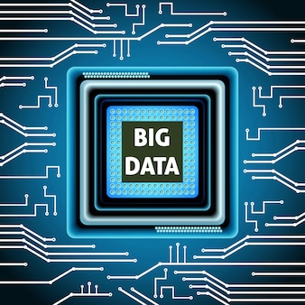 Big data microchip computer electronics cpu background vector illustration