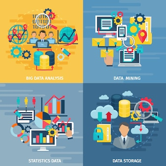 Big data mining analysis and storage technology 4 flat icons square composition banner