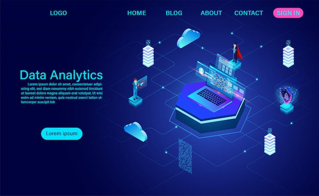 Big data network visualization landing page, advanced data analytics, 3d isometric vector illustration.