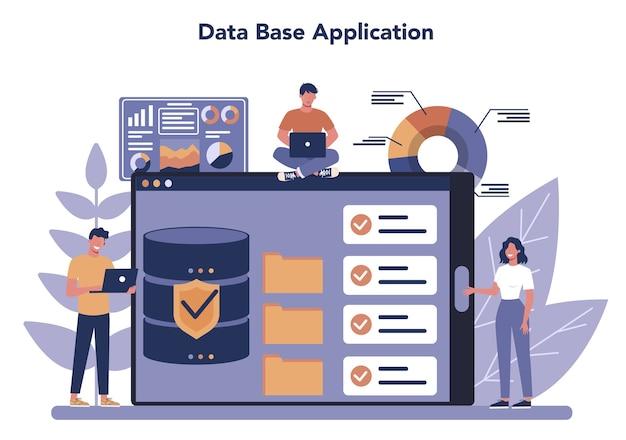 빅 데이터 온라인 서비스 또는 플랫폼. 현대 컴퓨터 기술.