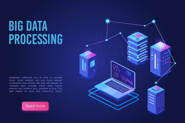 Big data processing and analysing landing page  template.