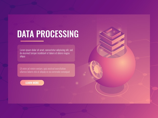 Big data processing concept, abstract futuristic cloud storage, server room, database