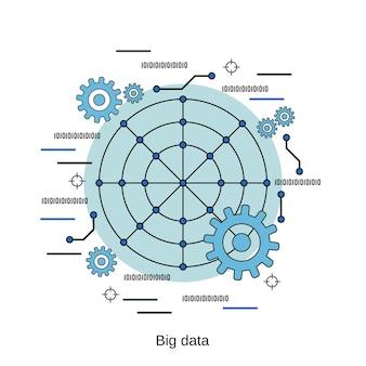 ビッグデータ処理フラットデザインスタイルベクトル概念図