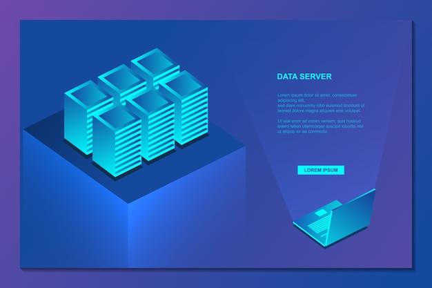 Big data server isometric background