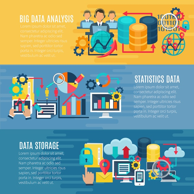Big data statistic analysis storage en processing techniques 3 flat horizontal banners set abstract