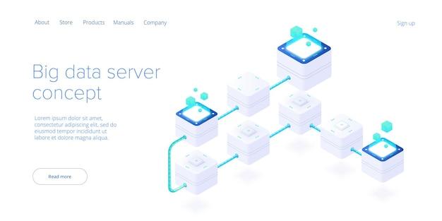 Технология больших данных в изометрической векторной иллюстрации. система хранения и анализа информации. шаблон целевой страницы веб-сайта цифровых технологий.
