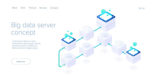 Big data technology in isometric vector illustration. information storage and analysis system. digital technology website landing page template.