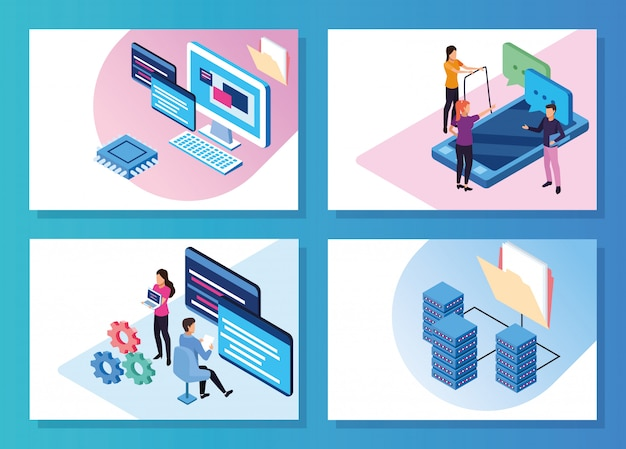 Big data technology with people and devices vector illustration design