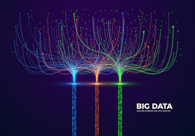 Big data visual concept. machine learning and data analysis. digital technology visualization. dot and connection lines data flow and processing information.