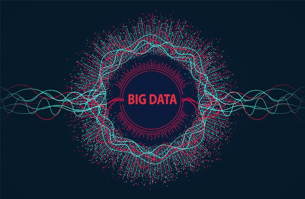 Big data. visual information flow from points and lines.