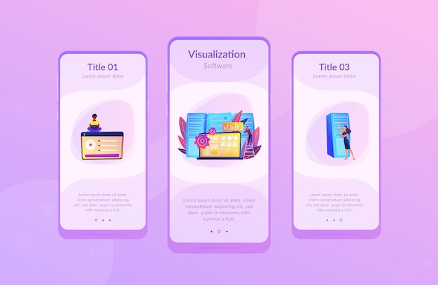 Big data visualization app interface template.