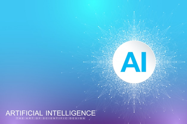 ビッグデータの視覚化。人工知能と機械学習のコンセプト。グラフィック抽象的な背景のコミュニケーション。遠近法の背景の視覚化。
