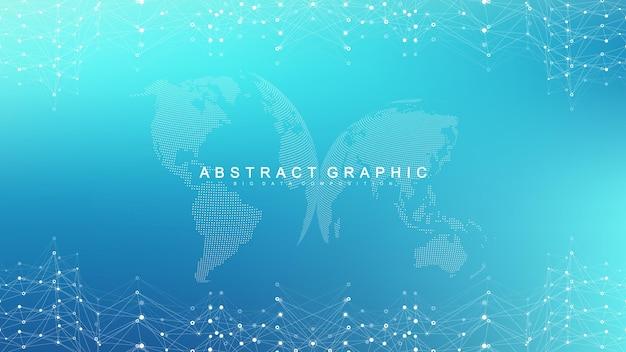 빅 데이터 시각화 배경입니다. 그래픽 추상적인 배경 통신입니다. 관점 배경입니다. 분석 네트워크 시각화. 네트워크 및 연결 배경입니다. 벡터 일러스트 레이 션.