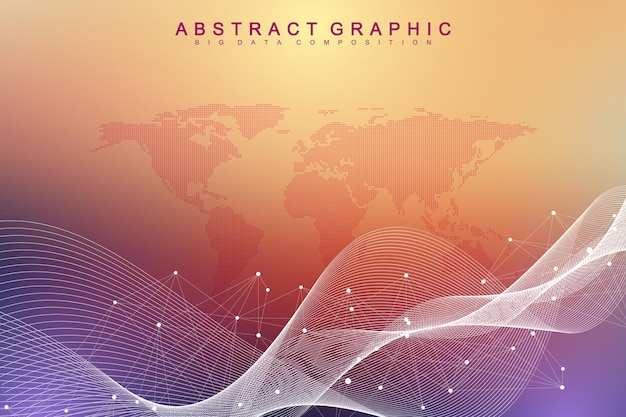 ビッグデータの視覚化。幾何学的な抽象的な背景の視覚情報の複雑さ。未来的なインフォグラフィックデザイン。接続された線と点、波の流れと技術の背景。ベクトルイラスト