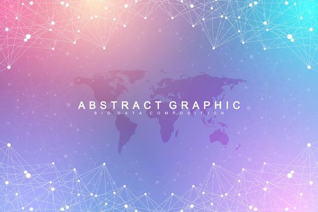 ビッグデータの視覚化。幾何学的なグラフィック背景分子とコミュニケーション